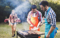 Amis ayant une partie de barbecue en nature Photo stock