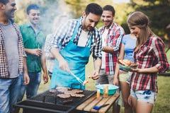Amis ayant une partie de barbecue en nature Photographie stock libre de droits