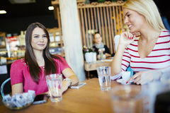 Amis bavardant et causant en café Photos libres de droits