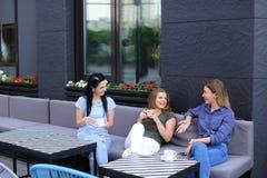 Amis beaux s'asseyant au café et à rire Photos libres de droits