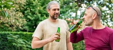 Amis buvant de la bière Photographie stock libre de droits