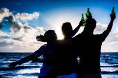 Amis buvant de la bière mis en bouteille à la plage Photos libres de droits