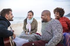 Amis buvant de la bière sur la plage Photographie stock libre de droits