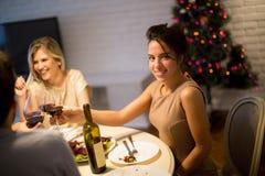 Amis célébrant Noël ou la soirée du Nouveau an Image stock