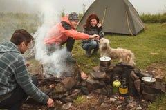 Amis campant avec le chien près du feu de camp Image stock