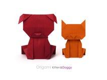 Amis chien et chat d'origami Photos libres de droits