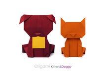 Amis chien et chat d'origami Image libre de droits