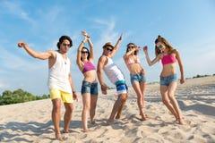 Amis comblés avec plaisir se tenant sur la plage Image libre de droits