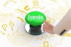 Amis contre le bouton poussoir vert digitalement produit Image stock