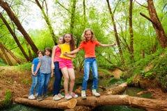 Amis croisant par un rondin au-dessus de la rivière Photos stock