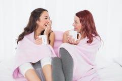 Amis décontractés gais causant au-dessus du café dans le lit Photo libre de droits
