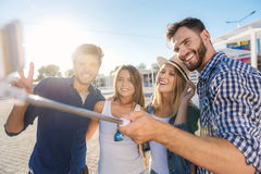Amis détendant et regardant dans le smartphone sur la plage Photos libres de droits