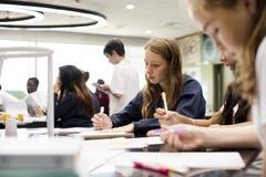 Amis d'école apprenant la connaissance de salle de classe Photo stock