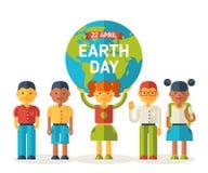 Amis d'école avec la planète de la terre illustration libre de droits
