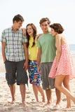 Amis d'adolescent ensemble sur la plage Photographie stock libre de droits