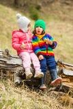 Amis d'enfants mangeant des gâteaux en nature Photos stock