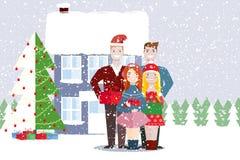 Amis d'une femme et d'un homme Noël, l'hiver Image libre de droits