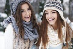 Amis dans des vêtements d'hiver Photographie stock