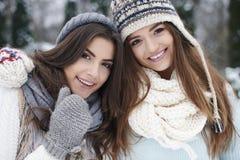 Amis dans des vêtements d'hiver Images stock