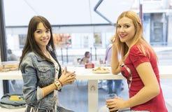 Amis dans la barre, deux filles buvant dans le restaurant Photos stock