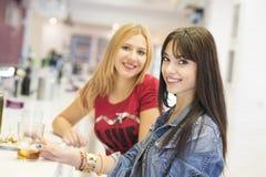 Amis dans la barre, deux filles buvant dans le restaurant Photos libres de droits