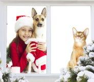 Amis dans le costume de Noël Photo libre de droits