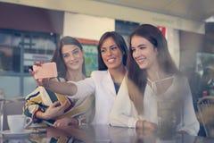 Amis dans un café Jeunes femmes d'arbre Images stock