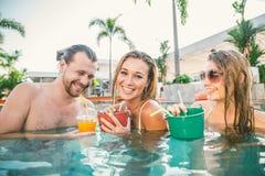 Amis dans une piscine Photo stock