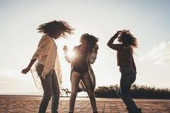 Amis dansant et ayant l'amusement sur la route Photographie stock