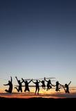 Amis de coucher du soleil Image stock