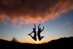 Amis de coucher du soleil Photo stock
