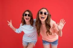 Amis de dames heureux se tenant d'isolement Image stock