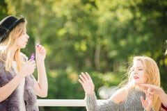 Amis de femmes soufflant des bulles de savon Photos libres de droits