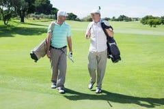 Amis de golfeur marchant et causant Photo libre de droits