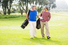 Amis de golfeur marchant et causant Photographie stock