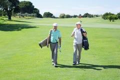 Amis de golfeur marchant et tenant leurs sacs de golf Photos libres de droits