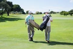 Amis de golfeur marchant tenant leurs sacs de golf Photos stock