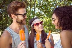 Amis de hippie appréciant des esquimaux Photo stock