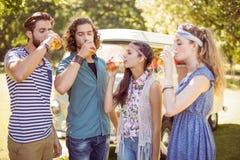 Amis de hippie ayant une bière ensemble Images libres de droits