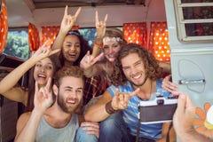 Amis de hippie dans un camping-car Photos stock