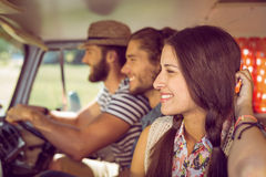 Amis de hippie sur le voyage par la route Photographie stock