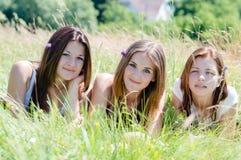 Amis de jeunes femmes d'appareil-photo de trois sourire heureux et regarder se situant dans la haute herbe verte Photo stock