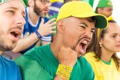 Amis de match de football de observation du Brésil Photographie stock libre de droits