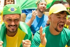 Amis de match de football de observation du Brésil Image libre de droits