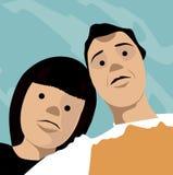 Amis de photo de selfie de visage de bande dessinée Photographie stock libre de droits