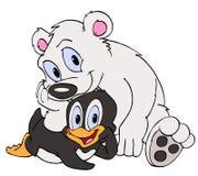 Amis de pingouin et d'ours blanc Images stock