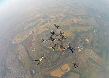 Amis de réunion de parachutisme Image stock