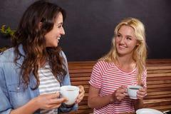 Amis de sourire appréciant le café ensemble Image libre de droits