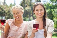 Amis de sourire ayant le vin rouge dans le parc Image stock