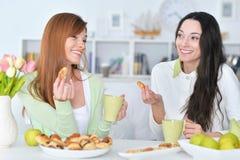Amis de sourire buvant du thé Image libre de droits